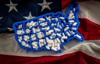 US map covered with opioid painkillers
